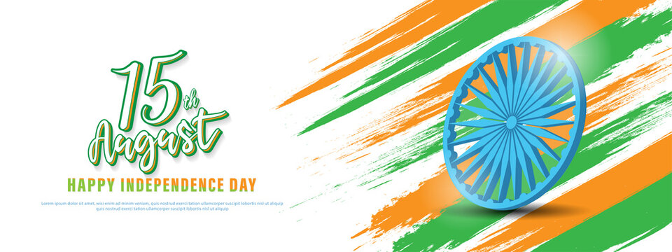 15 th August Indian Independence Day banner design with flag and Ashoka Chakra.