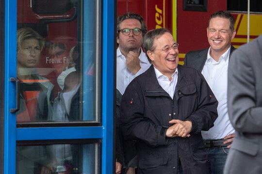 German President Steinmeier and CDU chief Laschet visit flood-hit Erftstadt
