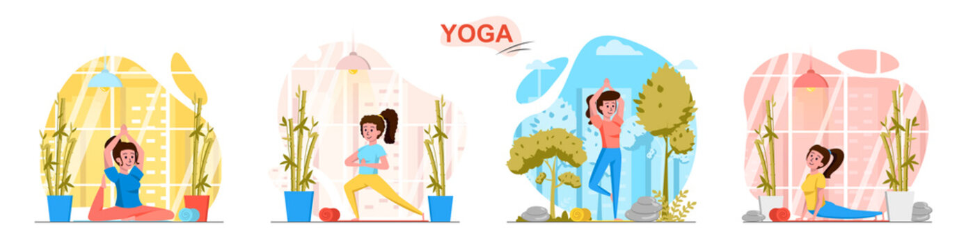 Yoga concept scenes set. Woman does yoga asanas, trains her body by performing different positions, healthy lifestyle. Collection of people activities. Vector illustration of characters in flat design