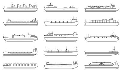 Obraz Barge vector outline set icon. Vector illustration cargo ship on white background. outline set icon barge . - fototapety do salonu
