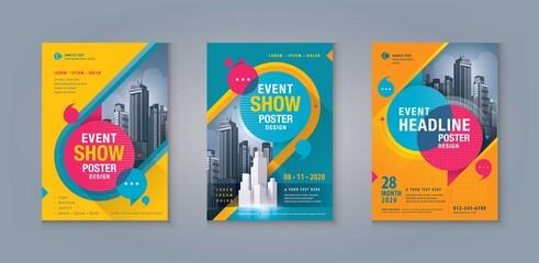 Obraz Business Leaflet Brochure Flyer template Design Set. Corporate Flyer Template A4 Size - fototapety do salonu