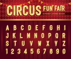 Obraz Vintage Circus Alphabet Letters and numbers, Carnival circus funfair letters - fototapety do salonu