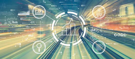 Fototapeta Business growth analysis with high speed motion blur obraz