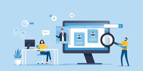 Obraz flat illustration business team research people Profile for job hiring and online interview with video conference meeting concept - fototapety do salonu