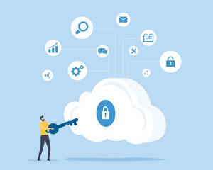 Fototapeta flat illustration design technology cloud security concept with a man hold key for unlock cloud server obraz