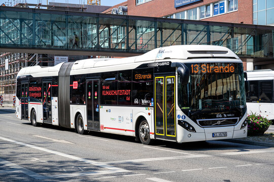 KIEL, GERMANY - JUNE 17, 2021: KVG Volvo 7900 HA articulated hybrid bus