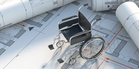 Fototapeta Wheelchair on construction drawings background. 3d illustration obraz