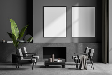 Fototapeta Modern living room interior with concrete floor and fireplace. Two mock up empty posters on the wall. Concept of contemporary design. obraz