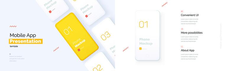 Fototapeta Modern presentation of a mobile application. Mobile phone mockup on a yellow background with a description of the mobile application. Modern illustration 3D style. obraz