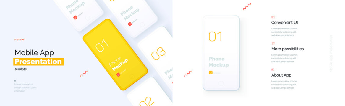 Modern presentation of a mobile application. Mobile phone mockup on a yellow background with a description of the mobile application. Modern illustration 3D style.