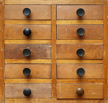 Old wooden cabinet with drawers