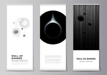 Obraz Vector layout of roll up mockup design templates for vertical flyers, flags design templates, banner stands, advertising design mockups. Tech science future background, space design astronomy concept. - fototapety do salonu