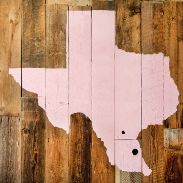Pink Texas map on rustic wood wall.