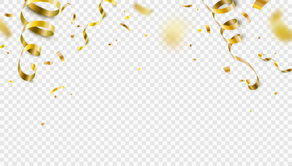 Obraz Falling gold confetti, serpentine ribbons isolated on transparent vector background. Glitter tinsel, shiny golden streamer frame, border in 3d realistic style for birthday, party, carnival design - fototapety do salonu