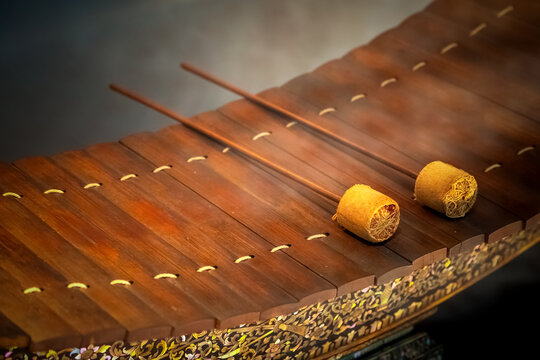 An Ancient Thai vibraphone with a Pair of Mallets