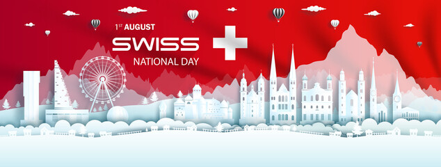 Fototapeta Illustration Anniversary celebration happy independence switzerland day. obraz