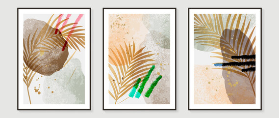 Fototapeta Contemporary botanical prints wall art. Abstract art background with Golden line art, palm and tropical leaves. watercolor canvas frame design for prints and home decor. Vector illustration. obraz