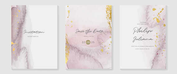 Obraz Abstract art background vector. Luxury invitation card background with golden line art and Watercolor brush texture. Vector invite design for wedding and vip cover template.  - fototapety do salonu