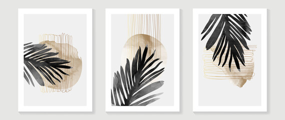 Obraz Abstract art watercolor background vector. Minimal hand painted watercolor and line art illustration.  Design for wall decoration, wall arts, cover, postcards, brochure.   - fototapety do salonu