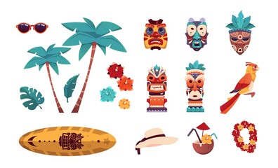 Obraz Hawaiian Tiki icons. Summer tropical art with palms and flowers. Surfboard, sunglasses or hat. Beach vacation collection. Tribal totem. Vector elements set of recreation on islands - fototapety do salonu