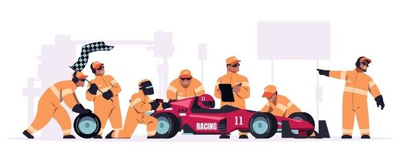 Obraz Racing crew. Cartoon pit stop team in uniform working on race car. Mechanic workers changing wheels of bolide. Maintenance technicians and engineers. Automobile repair. Vector illustration - fototapety do salonu