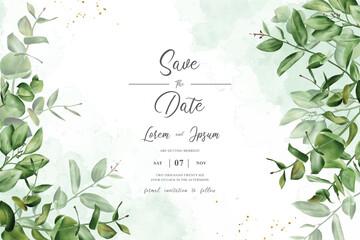 greenery wedding invitation design with arrangement eucalyptus