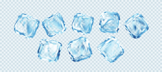 Set of Realistic Ice Cubes Isolated on White Transparent Background. Real transparent ice effect. Vector illustration