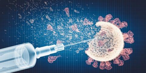Obraz Coronavirus Covid-19 vaccine. Vaccination destroying Covid19 virus - fototapety do salonu