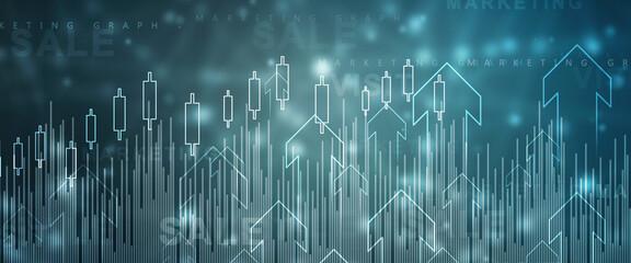 Obraz 2d rendering Stock market online business concept. business Graph  - fototapety do salonu