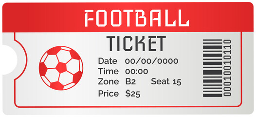 Fototapeta Football ticket card modern design. Invitation to football match to sports stadium to competition. Permission to enter soccer tribune for spectators to tournament. Fan ticket to sports match obraz