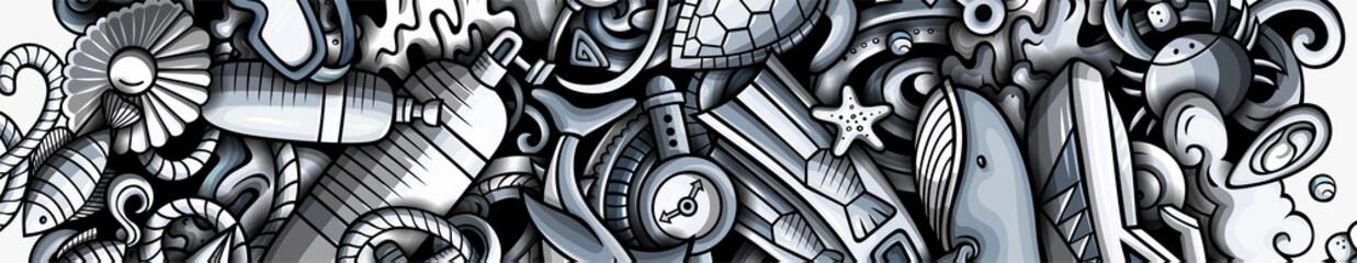 Fototapeta Diving hand drawn doodle banner. Cartoon vector detailed flyer. obraz