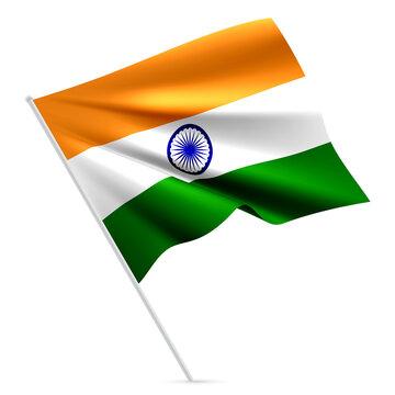 Waving Rippled Flag of India on White Background