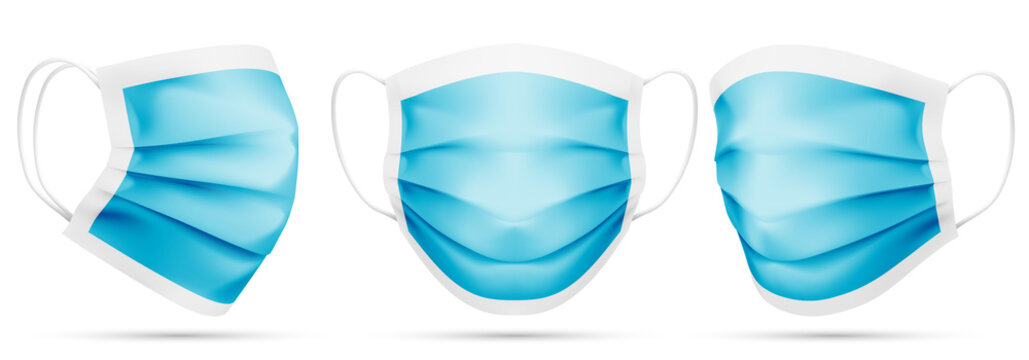 Realistic Blank Blue Disposable Medical Masks Template
