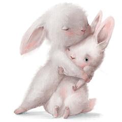 Obraz cute cartoon white hares couple in hugs - fototapety do salonu