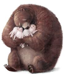Obraz big brown bear with four little hares - fototapety do salonu