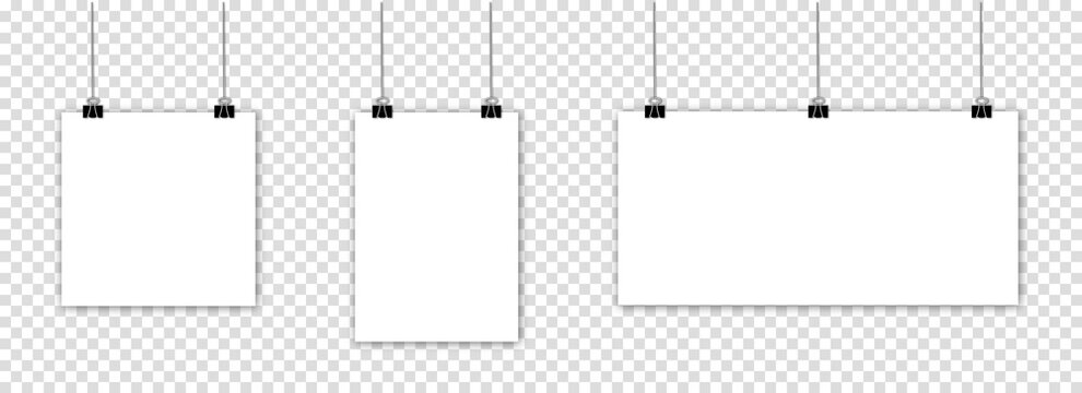 Blank hanging paper sheets with binder clip and shadows. Mock up empty paper blank isolated on transparent background
