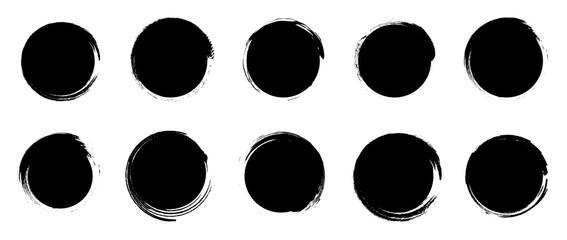 Obraz Set of grunge round shapes. Black circle brush stroke. Paint brush stamp collection isolated on white background - fototapety do salonu