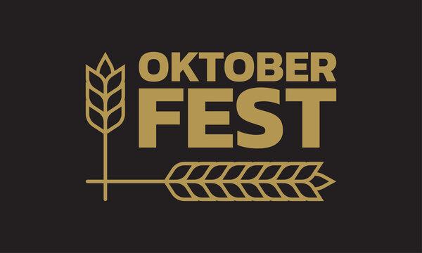Oktoberfest logo, label or badge with typographic text and barley or wheat. Beer fest banner or poster design template. Geman October festival emblem. Vector illustration.