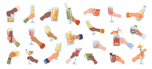 Fototapeta Glasses and cups with alcohol and hot beverages. Isolated hands cheers, celebration and festivity. Cocktails and beer, wine and champagne, coffee and tea, leisure holiday set. Flat cartoon vector obraz