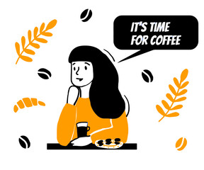 Obraz Coffee lover. Vector flat illustration. Doodle style infographic design elements. Good for motivational coffee lovers card or poster. - fototapety do salonu