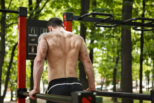 Rear view shot of ripped athletic man doing triceps dips outdoors, copy space