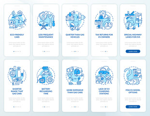 Fototapeta EV show onboarding mobile app page screen. Future eco transport solution walkthrough 5 steps graphic instructions with concepts. UI, UX, GUI vector template with linear color illustrations obraz