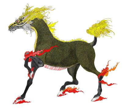 幻獣麒麟 背景なし。 麒麟は中国の神話上の動物。平和な時代に顕れる神聖な獣で幸福の兆(瑞獣=ずいじゅう)と呼ばれる。鳳凰が鳥の長として神獣化されており、麒麟はこれと対になる獣の長。古来の彫像や絵画に記録される形状は概ね鹿や馬に似て大きく、顔は龍に似ている。蹄は牛や馬に似ている。頭部の角は対ではなく、一角のようだ。体色は青、赤、白、黒、黄色と様々だが、イラストは一つの色で統一せず、自由に描いた。