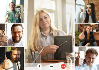 Fototapeta Team working by group video call share ideas brainstorming use video conference. Collage obraz