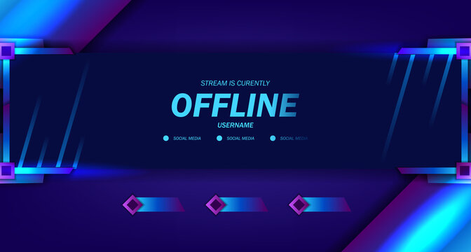 Offline streaming gaming live video template with dark neon glow frame display for esport trendy