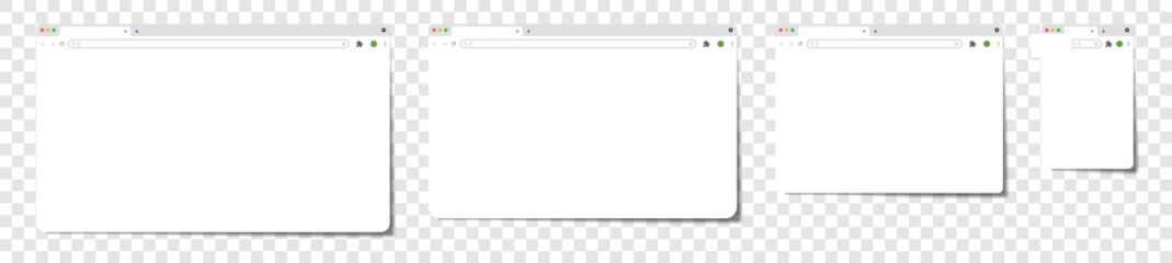 Empty browser window on transparent background, realistic blank browser window with shadow, empty web page mockup with toolbar