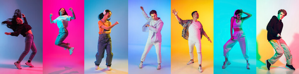 Collage of images of 7 models, men and women dancing, jumping isolated on multicolored background...