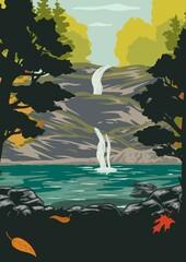 Obraz National park colorful vintage poster - fototapety do salonu
