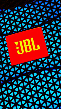 Editorial photo on JBL theme.  Illustrative photo for news about JBL - an American company that manufactures audio equipment
