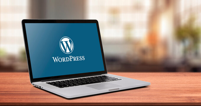 19 July 2021 Bangkok, Thailand, WordPress logo on display laptop or notebook. Open source site content management system free.